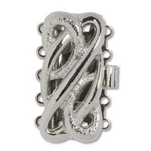 Rhodium Plated 5 Strand Box Clasp --- Serpentine Design