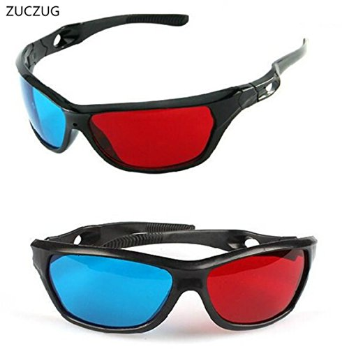 Universal 3D Plastic glasses/Oculos/Red Blue Cyan 3D glass (ZUCZUG new Black Frame Universal 3D Plastic glasses/Oculos/Red Blue Cyan 3D glass Anaglyph 3D Movie Game DVD vision/cinema)
