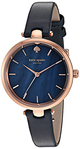 kate spade new york Women's 'Holland' Quartz Stainless Steel and Leather Automatic Watch, Color:Blue (Model: KSW1157)
