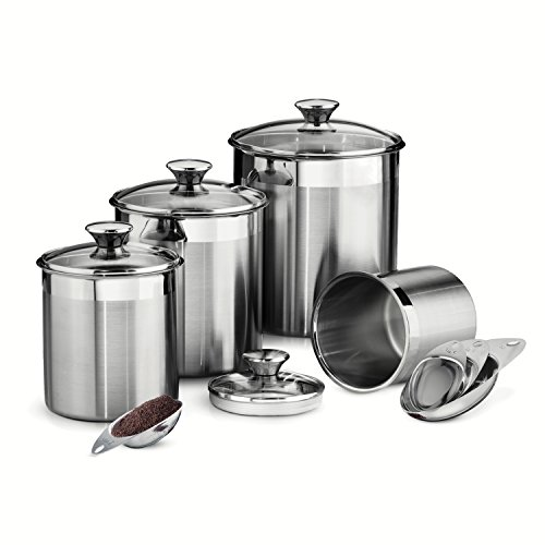 Tramontina 80204/527DS 8 Piece Canister and Scoops Set, Stainless Steel (Jar Covered Glass)