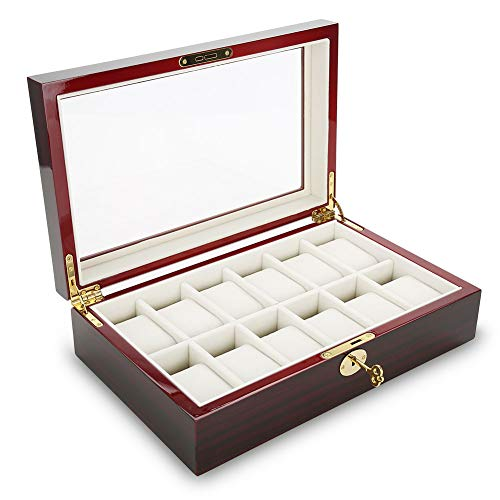 Zerone 12 Slots Watch Display Case, Wood Watch Storage Display Box Men Women Watch Display Organizer with Metal Lock Jewelry Sunglasses Storage Case