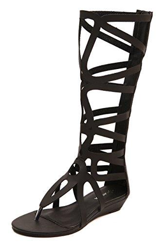 En Europa, los Estados Unidos redujeron las botas y sandalias romanas toe clip base plana arranca en frío black