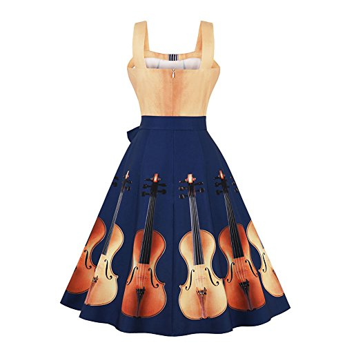 Larges et Robes Hepburn lgante Robe Femmes Guitare Bleu Dress Violon Marin Impression Sexy iBaste Bretelles Cocktail fwgqBn