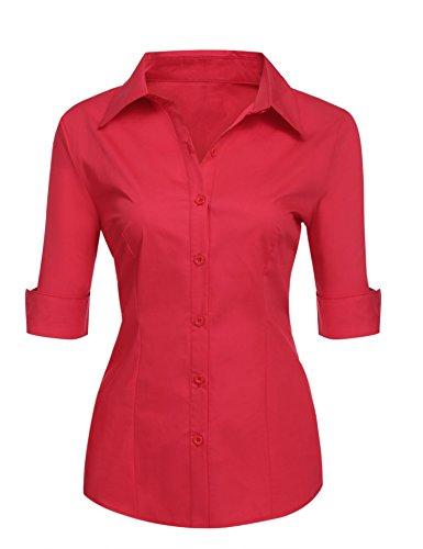 Misakia Women 32 Singles Short Sleeve Twill Button Down Dress Shirt (Red S) (Womens Short Sleeve Twill Shirt)
