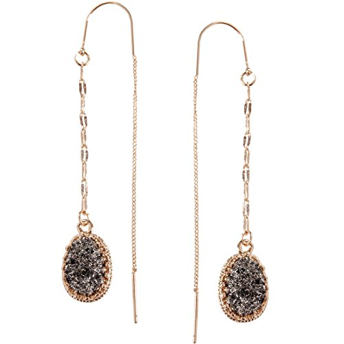 Humble Chic Simulated Druzy Chain Bar Threaders - Gold-Tone Long Sparkly Needle Drop Earrings for Women, Simulated Hematite, Grey, Metallic, Silver-Tone, Gold-Tone