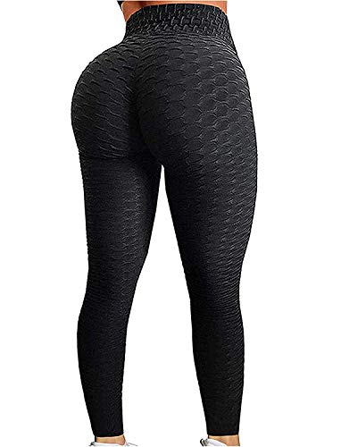FITTOO Textured Yoga Pants for Women Ruched Booty Leggings Workout Tights Honeycomb Black Small