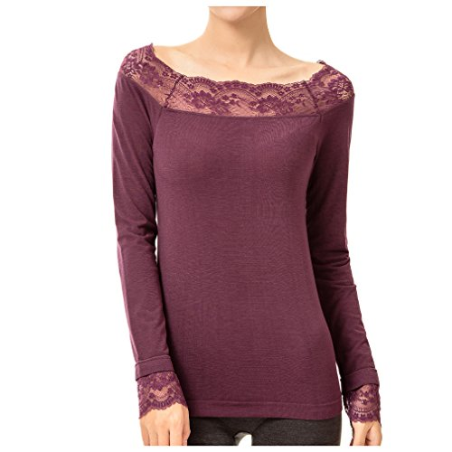Cnhw Women's Lace Boat Neck Seamless Long Sleeves Thermal Underwear Tops Purple L