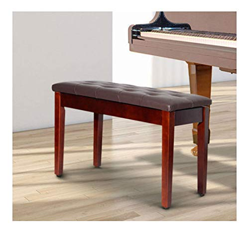 PU Leather Piano Bench Padded Double Duet Storage Upholstered Seat Brown