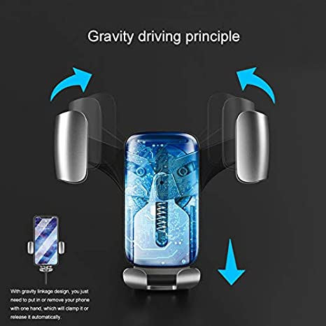 Fit-Fun one Touch Gravity Auto-Clamping Rotating Adjustable 360/° Rotation Metal Multi-Angle Universal Car Vent Phone Mount Holder Cradle for car Vehicle air Vent GPS for iPhone Android CS kexiang CS kexiang I Golden