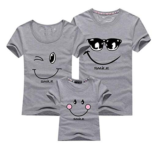 Matching Clothes Fashion Family Outfit Set New Cotton Family Matching T Shirt Smiling Face Shirt Short Sleeves Tees Tops L Gray -