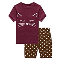 Family Feeling Little Girls Cat Summer Pajamas Short Sets 100% Cotton Sleepwear 6