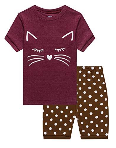 Family Feeling Big Girls Cat Summer Pajamas Short Sets 100% Cotton Sleepwear 12 ()