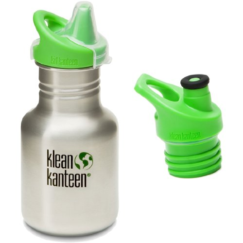 Klean Kanteen 12 oz Stainless Steel Water Bottle with 2 Caps (Kid Kanteen Sippy Cap and Sports Cap 3.0 in Bright Green) - Brushed Stainless
