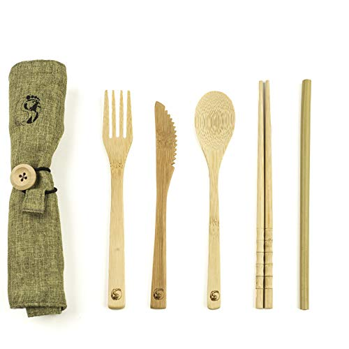 - Bamboo Travel Utensil Set with Carrying Case; Sustainable; Eco Friendly Cutlery Flatware Set; Reusable; Portable for Travel; Office; School or Camping