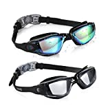 Aegend Swim Goggles, Pack of 2 Swimming Goggles No Leaking Anti Fog UV Protection Crystal Clear Vision Triathlon Swim Goggles with Free Protection Case for Adult Men Women Youth Teens, 10 Choices
