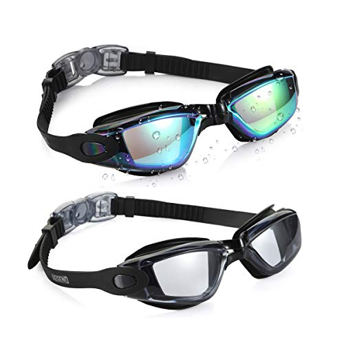 aegend Swim Goggles, Pack of 2 Swimming Goggles No Leaking Anti Fog UV Protection Crystal Clear Vision Triathlon Swim Goggles with Free Protection Case for Adult Men Women Youth Teens, ()