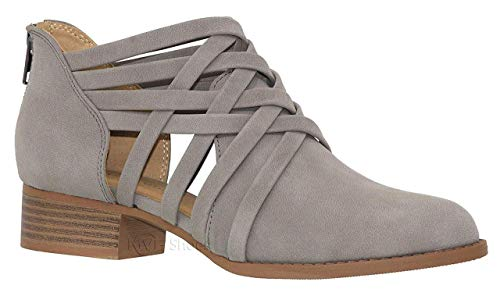 (City Classified Women's Ankle Bootie Woven Strappy Weeve Criss Cross with Low Chunky Heel GreyK 8.5 B(M) US)