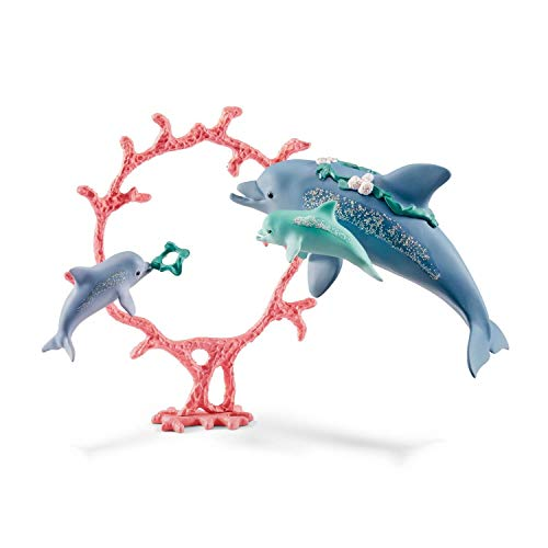 Schleich Dolphin Mum with Babies Figurine Toy Play Set, Multicolor