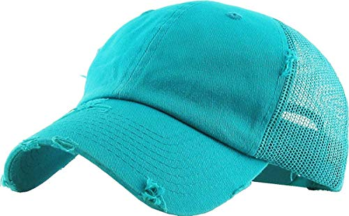 (H-6140-K46 Distressed Low Profile Vintage Polo Style Trucker Dad Hat - Teal)