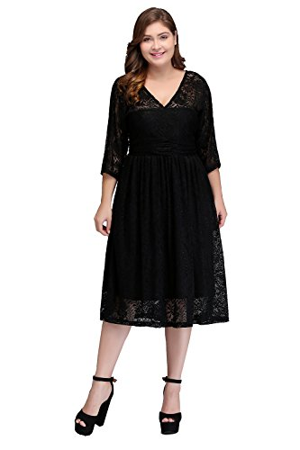 MisShow Women's 3/4 Long Sleeve V-Neck Vintage Lace Mother Of The Bride Dresses