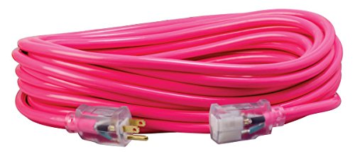 Southwire 2578SW000A 50-Foot 12/3 Neon All Purpose Extension Cord, Made in the USA, Water Resistant Vinyl Jacket, Heavy Duty Strain Relief, Extra Durable Plug, Reinforced Blades, Bright Pink, from Southwire