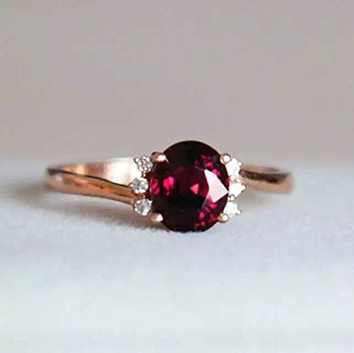 - 1.22 Carat Rhodolite Garnet Engagement Ring In 14K Rose Gold