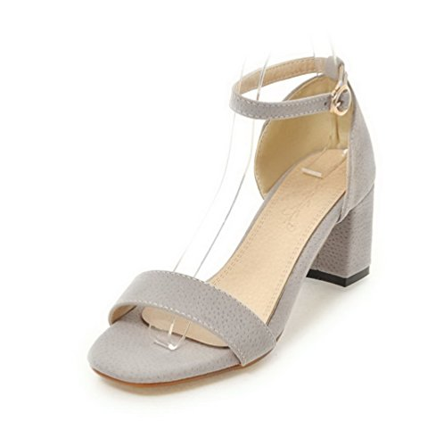 Open Gray Kitten Frosted Heels Sandals Solid VogueZone009 Buckle Women Toe qnApEp