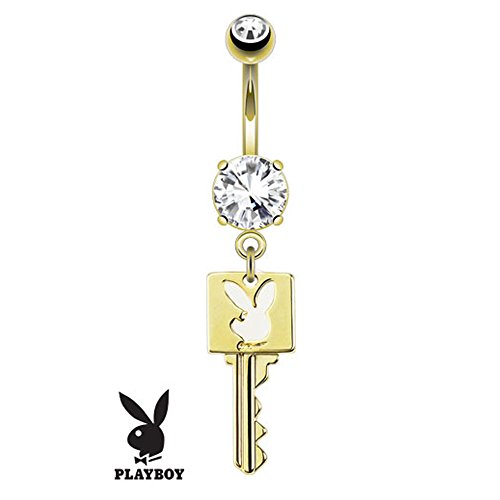 Jinique SBJ-0073 Officially Licensed Playboy Bunny Key Die-Cut Dangle 14k Gold Plated Navel Ring