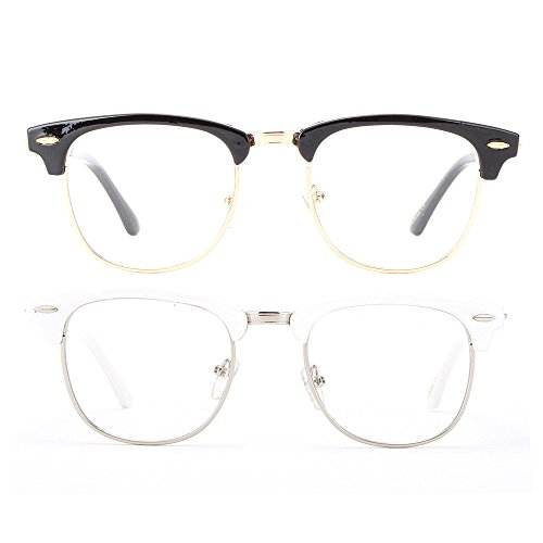 Newbee Fashion - Clubmaster Oval Stylish Retro Celebrity Classic Half Frame High Fashion Clear Lens - Clear Lens Stylish Glasses