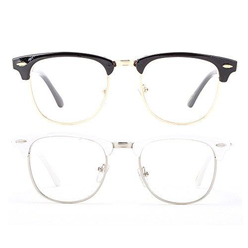 Newbee Fashion - Clubmaster Oval Stylish Retro Celebrity Classic Half Frame High Fashion Clear Lens - Frames Women For Stylish