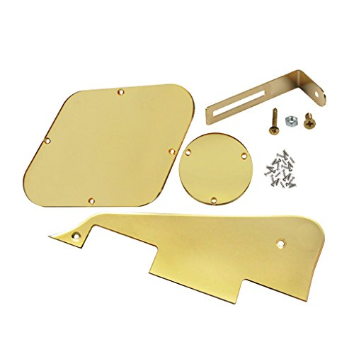 (FLEOR 1Ply Golden Mirror Guitar Pickguard Scratch Plate Back Plate Bracket(Golden) w/Screws Fit Gibson Les Paul Pickguard Replacement)