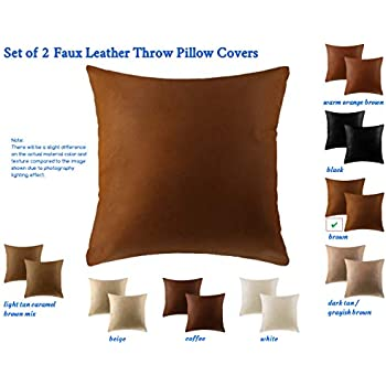 how to use decorative pillows amazon com set of 2 faux leather pillow covers 18x18 decorative how to use throw pillows on a bed faux leather pillow covers 18x18