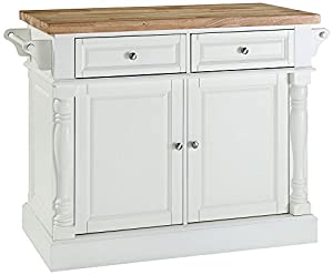 Amazon.com: Crosley Furniture Kitchen Island with Butcher Block Top - White: Kitchen & Dining