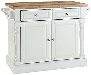 Crosley Furniture Kitchen Island With Butcher Block Top White Kitchen Dining