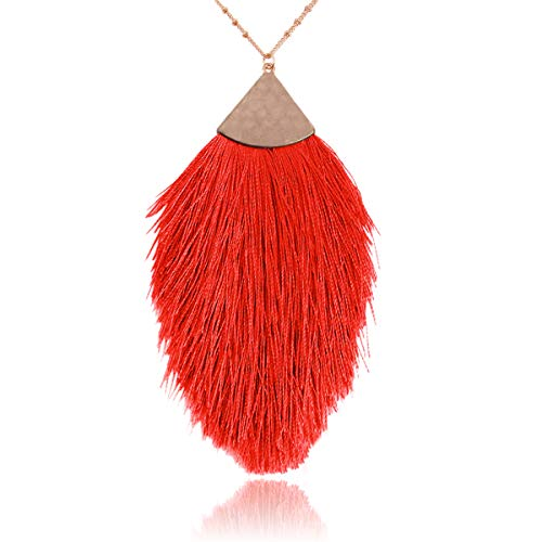 RIAH FASHION Antique Bohemian Silky Thread Fan Tassel Statement Necklace - Vintage Gold Feather Shape Strand Fringe Lightweight Long Chain (Feather Fringe - Red)