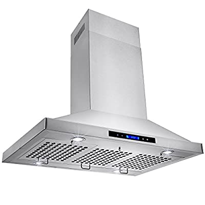 "Golden Vantage Stainless Steel 36"" Euro Style Island Mount Range Hood LCD Screen GV-GL-9002-36"