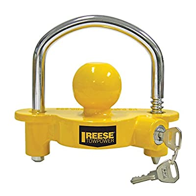 REESE Towpower 72783 Universal Coupler Lock, Adjustable Storage Security, Heavy-Duty Steel, Yellow and Chrome: Automotive