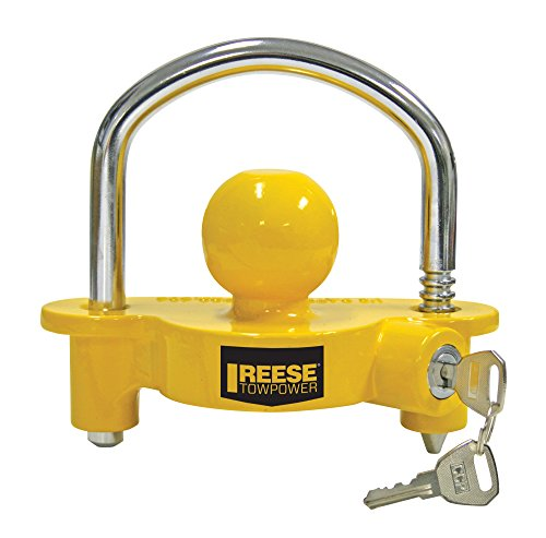 (REESE Towpower 72783 Universal Coupler Lock, Adjustable Storage Security, Heavy-Duty Steel, Yellow and Chrome)