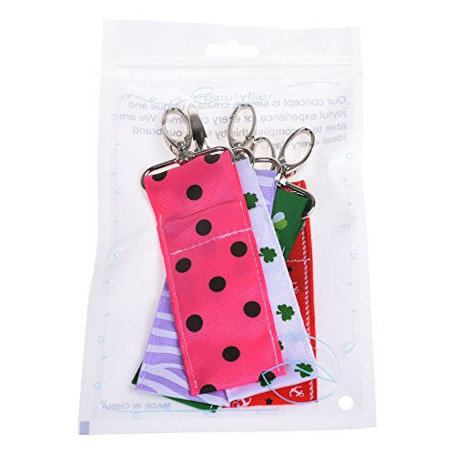 Beautyflier Pack of 5 Clip-on Sleeve Chapstick Pouch Keychain Lipstick Holder Elastic Lip Balm Holster Travel Accessories (Combo) by Beautyflier (Image #4)