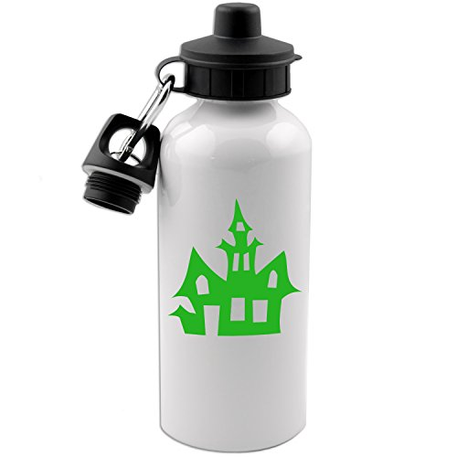 Haunted House Silhouette Spooky Halloween 20 OZ White Aluminum Water Bottle (LIME GREEN)
