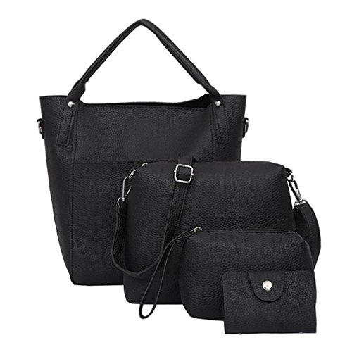 4 PCs Women Handbag Shoulder Bags Four Pieces Tote Bag Crossbody Wallet Set by VESNIBA
