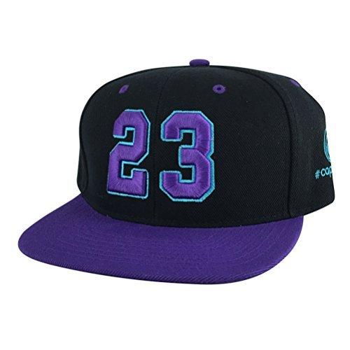 Caprobot Custom Embroidered Hat Player Jersey Number #23 Snapback Cap Black Teal Outline Purple Visor