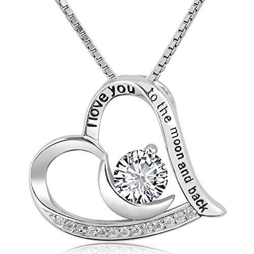 Infinite Memories - I Love You to The Moon and Back - Love Heart 925 Sterling Silver Necklace Clear CZ Birthstones Crystal Gifts for Women
