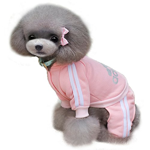 TadMart - Pink Pet Hoodie adidog L (for small dogs,100% cotton sporty hoodie/ sportswear / hooded sweater/ warm sweater / sporty outfit for pets) (Banana Costume For Dogs)