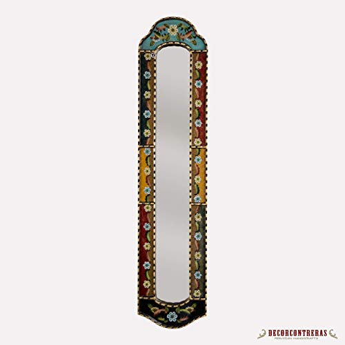 """Long Narrow mirror wall art 35.8"""" tall / 31.5"""" tall, Decorative Long Mirror from Peru, painting on glass, Antique Gold Wood Framed Wall Accent Mirrors for living room"""