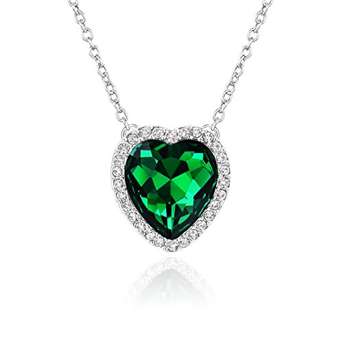 Beyond Love Emerald May Birthstone Necklace Heart Birthday Anniversary Jewelry Gifts for Women and Girls