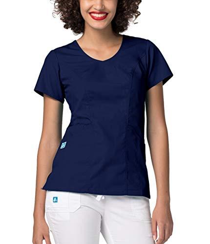Adar Universal Women's Wave Pocket Crossover Scrub Top - 2636 - NVY - M