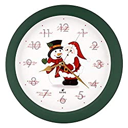 Justime Splendid 14-inch 12 Song of Carols of Christmas Warm Santa Claus & Snowman Melody Wall Clock, Quartz Home Wall Deco Clock (SS Green)