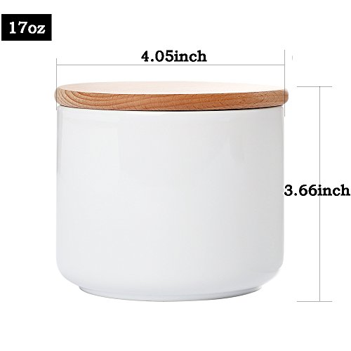 White Ceramic Canisters Jars Containers Set For Food Storage with Airtight Wood Lids Kitchen Canisters,17oz,1-Piece set,Flour Sugar Container Coffee Tea Canister spices Cereal Canister