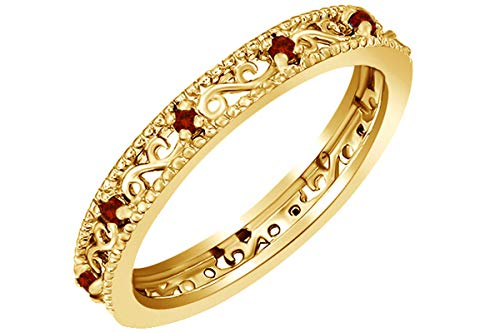 Jewel Zone US Mothers Day Jewelry Gifts Round Cut Simulated Red Garnet Stackable Ring in 14K Yellow Gold Over Sterling Silver - 14k Natural Garnet Ring Gold